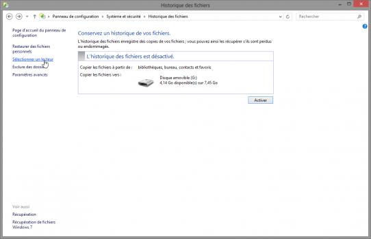 selectionner-un-lecteur-historique-fichiers-windows8