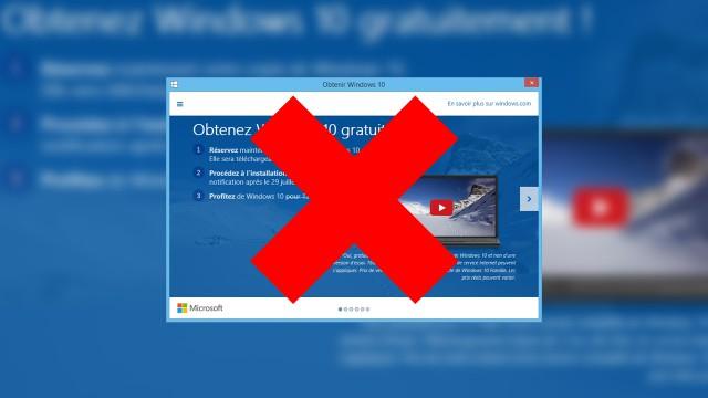 Désinstaller l'application «Obtenir Windows 10» de Windows 7/8.1