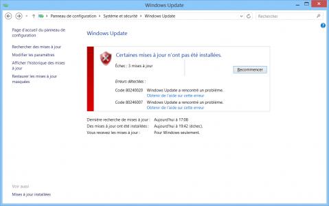 echec mise à jour windows 10