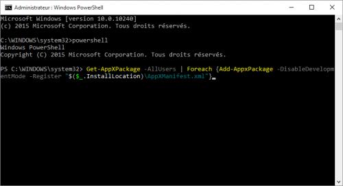 probleme-impossible-utiliser-barre-des-taches-et-menu-demarrer-bloques-sur-windows-10-commande-powershell