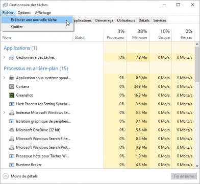 probleme-impossible-utiliser-barre-des-taches-et-menu-demarrer-bloques-sur-windows-10-gestionnaire-de-taches-nouvelle-tache