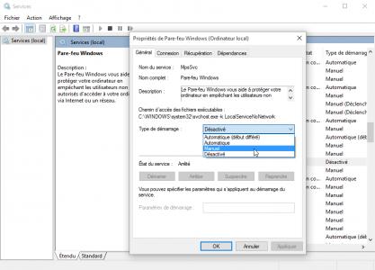 probleme-impossible-utiliser-barre-des-taches-et-menu-demarrer-bloques-sur-windows-10-service-pare-feu-windows-demarrage-manuel