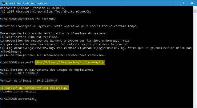 reparer-image-de-windows-10-dism-online-cleanup-image-checkhealth-magasin-composants-reparable