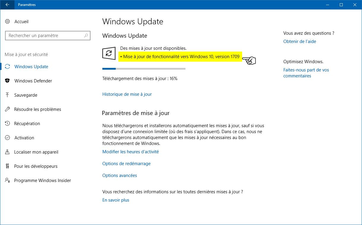 Télécharger et installer Windows 10 1709 (Fall Creators