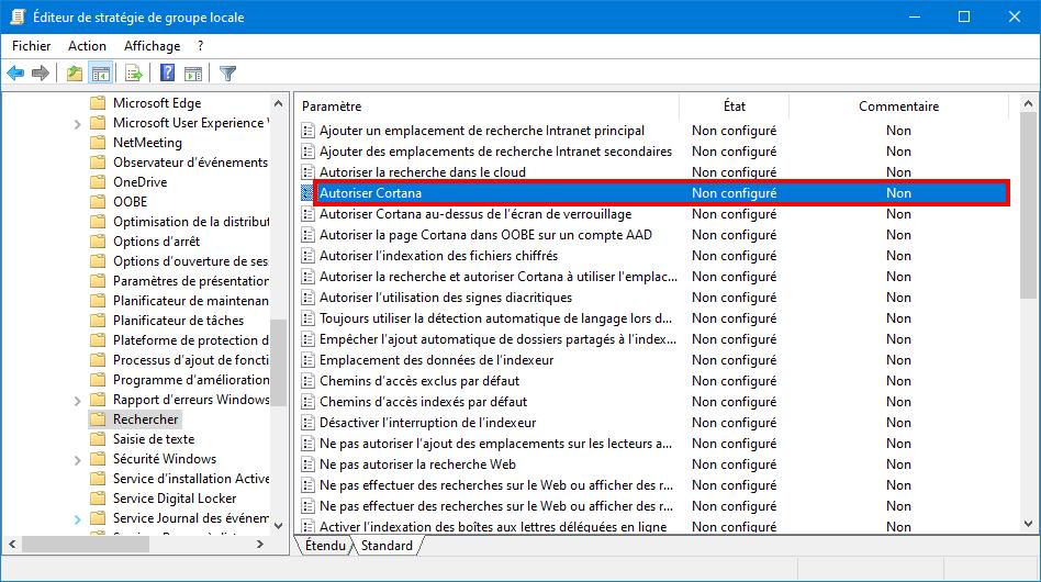 Désactiver Cortana Sur Windows 10
