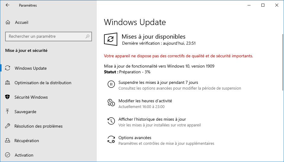 Télécharger Et Installer Windows 10 1909 November 2019