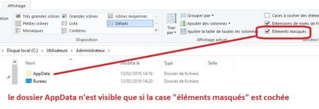 dossier appdata visible