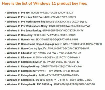 Win11 keys