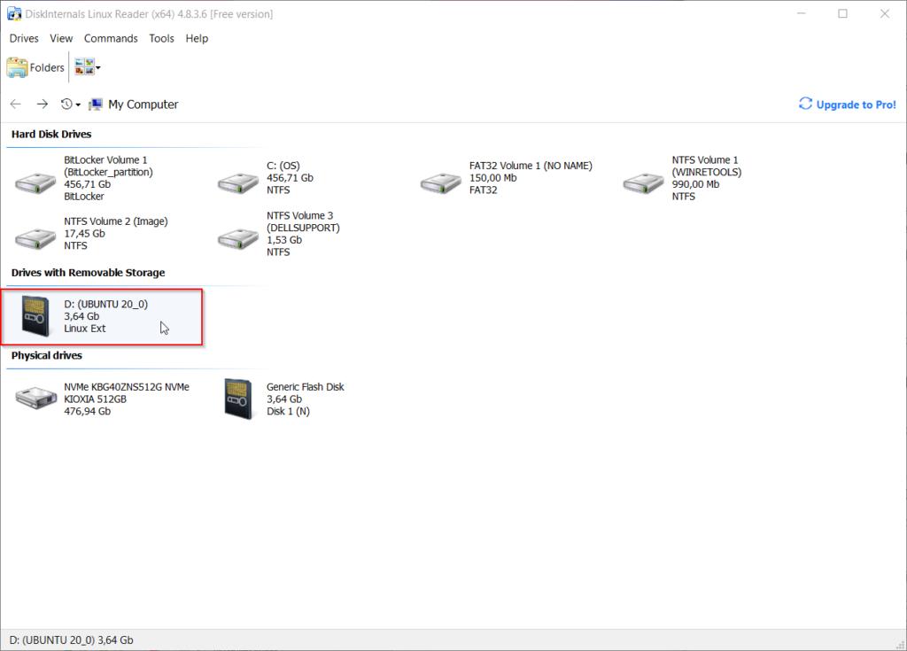 Repérer le disque formaté en ext4