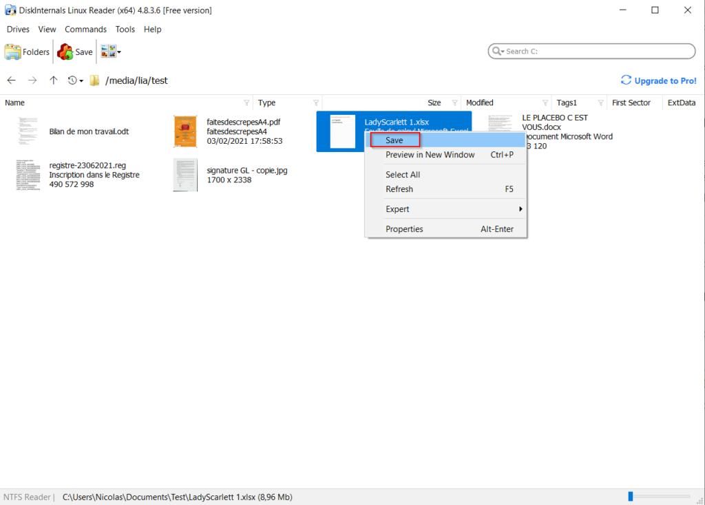 Linux Reader - Faire un clic droit sur le fichier sélectionné pour le sauvegarder Save