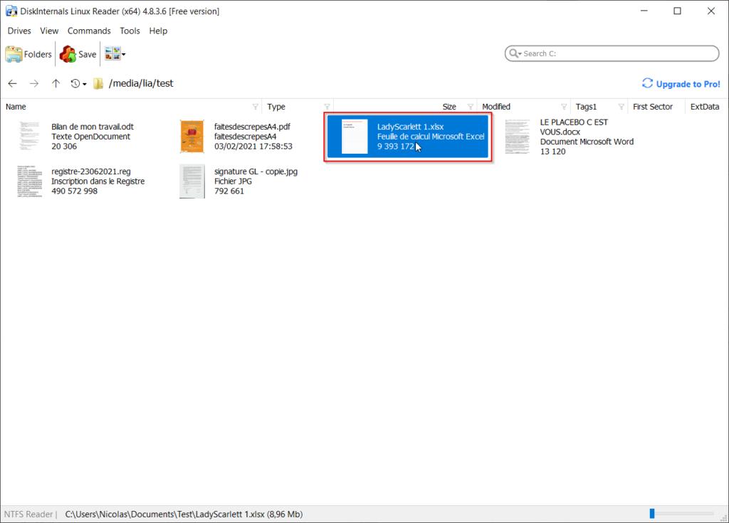 Sélectionner un fichier à copier/sauvegarder sur Linux Reader