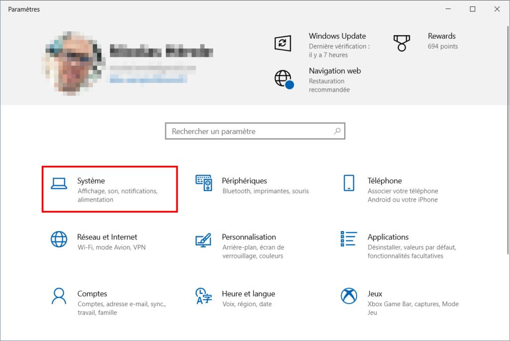 Configurer mise en veille Windows 10, aller dans Paramètres puis Système