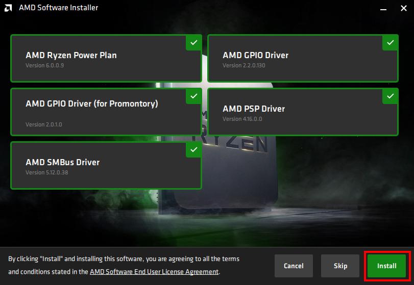 Installation des pilotes AMD, cliquer su Install