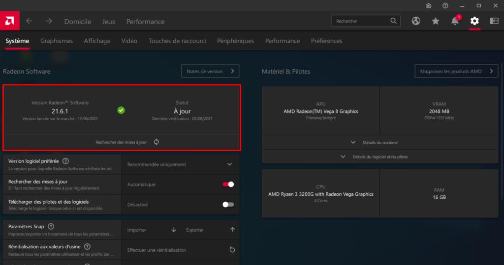 vérification des mises à jour pilotes AMD dans Radeon Software
